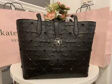 NWT**KateSpade Kaci Spade flower embossed bag Black Shoulder Bag New Large Tote