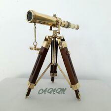 Brass Telescope With Tripod Stand Vintage Marine