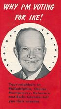 "1952 Eisenhower IKE Pennsylvania PA 3 1/2"" x 6"" fold out brochure pamphlet"