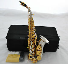 Top Silver Nickel God Curved Soprano Saxophone New Bb Sax High F# with Case