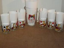 Rare Vtg Jolly Joker Pitcher and 6 Low Ball Poker Glasses Tumblers 1950's Mid