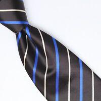 Josiah France Mens Silk Necktie Black Royal Blue White Smooth Satin Weave Woven