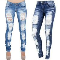 Women Stretch Denim Jeans Distressed Destroyed Ripped Slim Skinny Trousers Pants