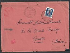 Italy 1944 cens cover BARCI to Red Cross Geneve