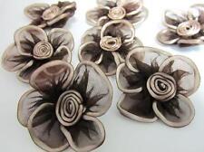 "20 Big 2.5"" Organza Sheer Ribbon Flower Applique/Satin Swirl Bow/Tutu F1-Brown"
