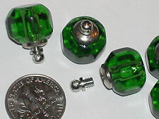 1 Crystal Ball GREEN Perfume tiny miniature rice vial pendant bottle SCREW CAP