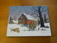 8 x 10 C Carson painting on canvas watermill barn at night in winter snowing