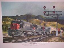 """Railroad Art, Winfield,SP,U-25-b's in SanTimateo Canyon @1962,18X24"""" s/n(7332)"""