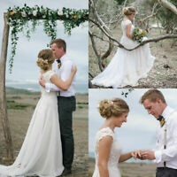 Romantic A-Line Wedding Dresses Cap Sleeve Lace Chiffon Garden Beach Bridal Gown