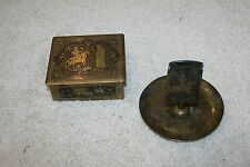 VINTAGE German Metal Jewelry Box & Ashtray Match Box Holder Hunting Scenes