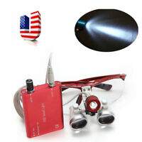 LED Dental Head Light Lamp + Surgical Binocular Optical Glass Loupes for Dentist