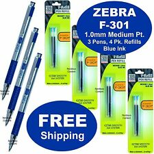 Zebra F-301 1.0mm Medium Point, Blue Ink, 3 Pens With 4 Packs of F Refills