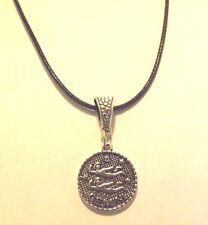 collier cordon ciré noir 47 cm avec pendentif médaille argenté zodiaque gémeaux