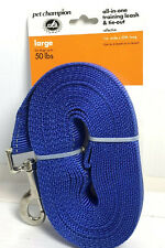 """Pet Champion Dog Training Leash & Tie Out 20' x 1"""" Reflective Blue Up To 50 Lbs"""