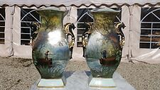 ANTIQUE XXL GERMAN PORCELAIN VASES HANDPAINTED HUNTING SCENES GILDED DRAGONS