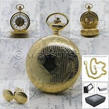 GOLD Mechanical Pocket Watch Brass Men Skeleton Double Hunter on Chain Box P40
