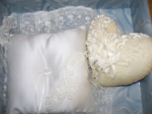 """Two Vintage Wedding Pillows  Velvet Heart 6""""X6"""", Square 9"""" X9"""" Including Lace.#5"""