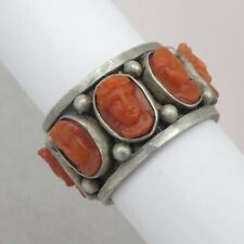 Antique Victorian High Relief Carved Coral Cameo Eternity Sterling Silver Ring