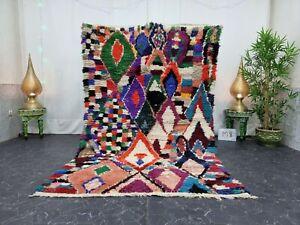 "Moroccan Handmade Vintage Rug 5'x8'3"" Berber Geometric Multicolor Carpet"