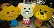 """INSTRUCTO wooden handheld puppet masks 1970 wolf mouse monkey bear elephant 12"""""""