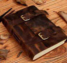 "Large Genuine Leather Journal Diary Sketchbook Notebook Vintage RUSTIC 8""x6"""