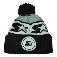 Starter Blank Black Gray Pom Pom Beanie Knit Cuffed Toque Solid Plain Winter