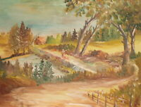 Vintage impressionist oil painting landscape