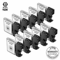 10PK LC61BK for Brother LC61 BLACK Inkjet Cartridge MFC-990CW DCP-585CW DCP-375C