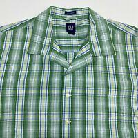 Gap Button Up Shirt Men's Size Large Short Sleeve Green Plaid Classic Fit Cotton
