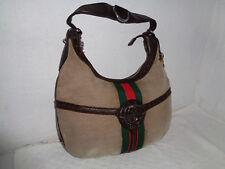 Superbe sac à main  Toile & cuir  GUCCI  Authentique & vintage Bag