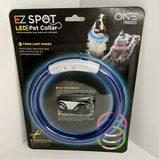 EZ Spot Blue LED Pet Collar By One Products Customizable Rechargeable Dogs/Cats
