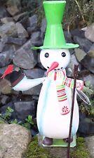 Figura decorativa MUÑECO DE NIEVE METAL PINTADO A Mano Decoración Navidad Al. :