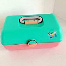 VTG Caboodles Teal & Pink Makeup Organizer Train Case Adj Mirror #2620 USA Made
