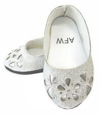 "Silver Glitter Bling Ballet Flats Shoes for 18"" American Girl Doll Clothes"
