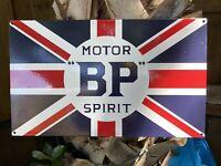 "VINTAGE BP MOTOR SPIRIT PORCELAIN SIGN 20"" BRITISH PETROLEUM UNION JACK AMOCO"