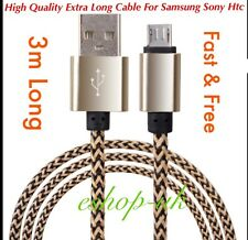 2x 3M Braided Micro USB Data Lead Charging Cable For Samsung Galaxy S4/5/6/7Edge