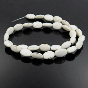"""White Turquoise Oval Gemstone Spacer Beads 16"""" Jewelry Making DIY"""