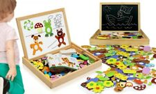 Childrens Magnetic Animals Puzzle with Wooden Box, Kids Creative Activity Toy