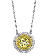 GIA Certified 1.75 Carat Round Cut Diamond Ladies Pendant 18k Gold Fancy Yellow