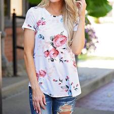2017 UK Women Ladies Causal Short Sleeve Summer T Shirt Loose Floral Blouse Tops White XL