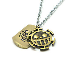 Anime One Piece Law Wanted Pendant Necklace Bronze Metal Pendant Jewelry Gifts