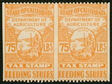 75 Lbs. Calif Feeding Stuffs Tax Stamp-Pair, Mint OG NH **ANY 4=FREE SHIPPING**