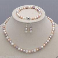 Genuine 7-8mm White Pink Purple Freshwater Pearl Necklace Bracelet Earrings Set