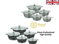 NEW GLAXA Marble Coated 5PC Cookware Set NonStick Stockpot Casserole Cooking Pot