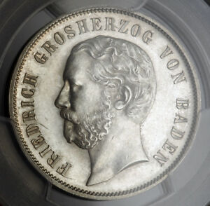 "1867, Baden (Grand Duchy), Frederick I. Silver ""Shooting"" 1 Gulden. PCGS MS-63!"