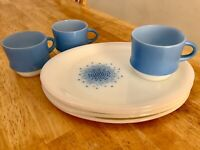 Anchor Hocking Fire King Blue Mosaic Snack Set 7 Pieces Plates And Cups