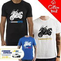 T-Shirt BMW R 1200 GS uomo Maglia moto nera cotone 100% maglietta