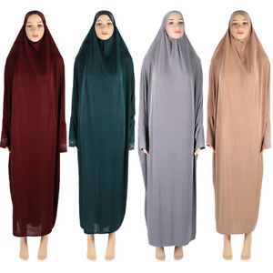 Muslim Women Hijab Abaya Islamic Prayer Khimar Overhead Dress Robe Jilbab Kaftan