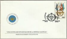 Chile 1992 FDC Military Chiefs of Staff 50th Anniversary - Flags