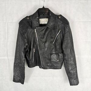 Ladies Jacket Size 12 LAKELAND Genuine Leather Black Biker Moto Short